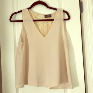 Blush Pink Lace Back Top, S